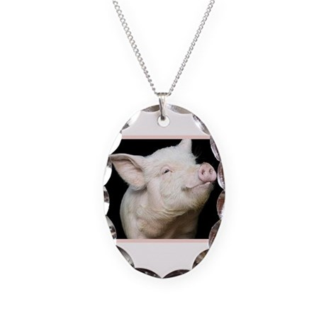 Cutest Pig Necklace Oval Charm