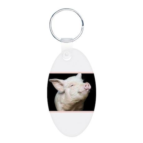 Cutest Pig Aluminum Oval Keychain