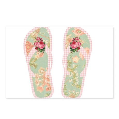 Vintage Flower Flip Flops Postcards (Package of 8)
