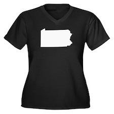 Blank Women's Plus Size V-Neck Dark T-Shirt