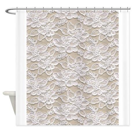 vintage floral lace shower curtain by printedlittletreasures. Black Bedroom Furniture Sets. Home Design Ideas