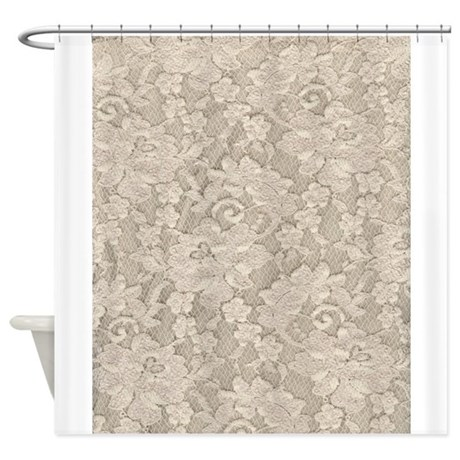 Vintage Ivory Floral Lace Shower Curtain By