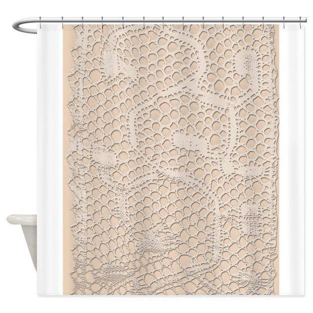 Vintage cream lace shower curtain by printedlittletreasures for Bathroom wall t shirts australia