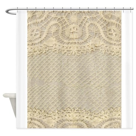 vintage yellow lace shower curtain by printedlittletreasures