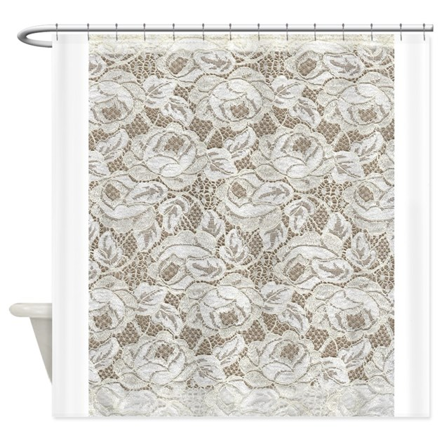 Vintage White Floral Lace Shower Curtain by