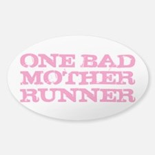 One Bad Mother Runner Pink Sticker (Oval)