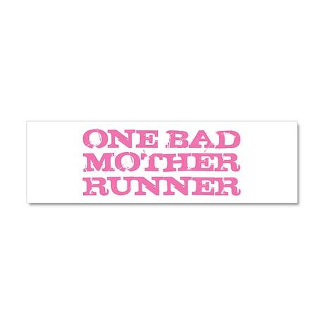One Bad Mother Runner Pink Car Magnet 10 x 3