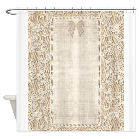 Vintage Lace Stationary Bow Shower Curtain By