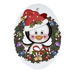 Christmas Penguin Holiday Wreath Ornament (Oval)