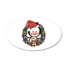 Christmas Penguin Holiday Wreath Wall Decal