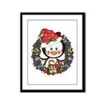 Christmas Penguin Holiday Wreath Framed Panel Prin