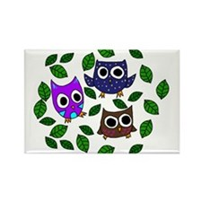 Three Happy Owls Rectangle Magnet