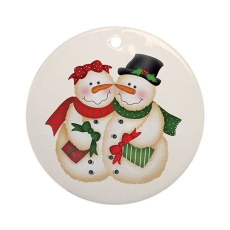 Snowman Couple Ornament (Round)