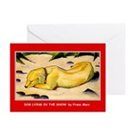 DOG LYING IN SNOW Greeting Cards (Pk of 10)