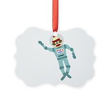 Sock Monkey Astronaut Ornament