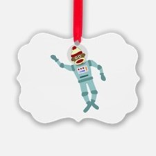Sock Monkey Astronaut Ornament