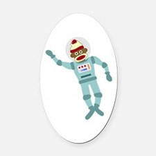 Sock Monkey Astronaut Oval Car Magnet