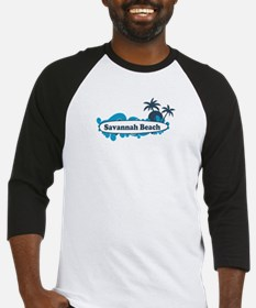 Savannah Beach GA - Surf Design. Baseball Jersey