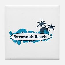 Savannah Beach GA - Surf Design. Tile Coaster