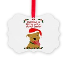 Merrier with Pit Bull Ornament