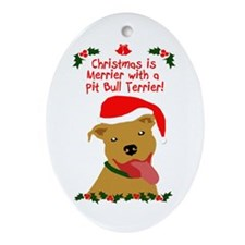 Merrier with Pit Bull Ornament (Oval)