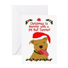 Merrier with Pit Bull Greeting Card