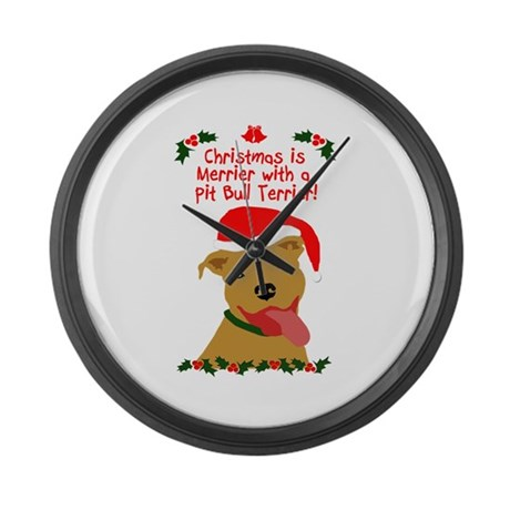 Merrier with Pit Bull Large Wall Clock
