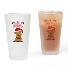 Merrier with Pit Bull Drinking Glass