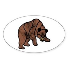 BROWN STAIN GLASS BEAR Oval Decal