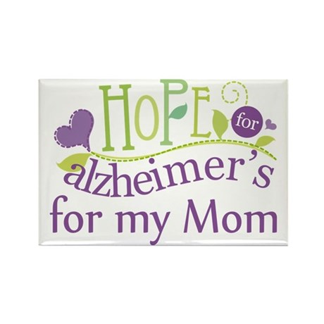 Hope For Alzheimers For My Mom Rectangle Magnet (1