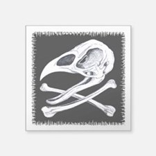 Rooster Skull And Crossbones Square Sticker 3&quot