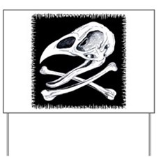 Rooster Skull and Crossbones Yard Sign