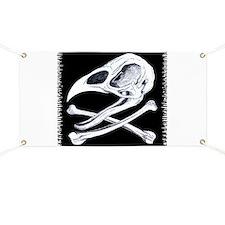 Rooster Skull and Crossbones Banner