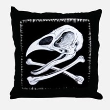 Rooster Skull and Crossbones Throw Pillow