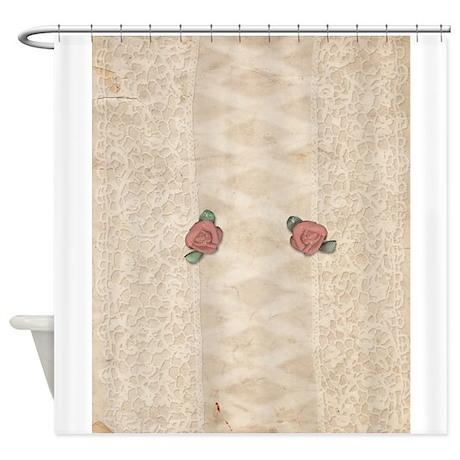 Vintage Rose Lace Shower Curtain