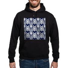 Navy Blue Damask Hoodie