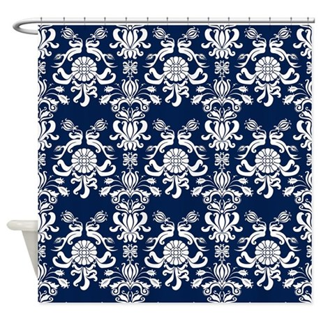 Navy Blue Damask Shower Curtain by PrintedLittleTreasures