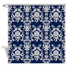Navy Blue Damask Shower Curtain