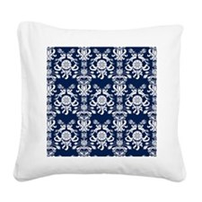 Navy Blue Damask Square Canvas Pillow