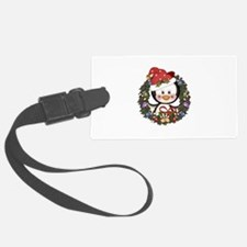 Christmas Penguin Holiday Wreath Luggage Tag