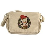 Christmas Penguin Holiday Wreath Messenger Bag