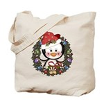 Christmas Penguin Holiday Wreath Tote Bag
