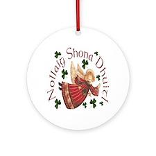 Gaelic Greetings Christmas Angel Ornament (Round)