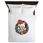 Christmas Penguin Holiday Wreath Queen Duvet