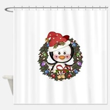 Christmas Penguin Holiday Wreath Shower Curtain
