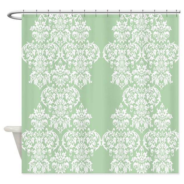 Light Green Damask Shower Curtain By Printedlittletreasures