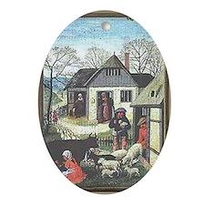Medieval Village Oval Ornament