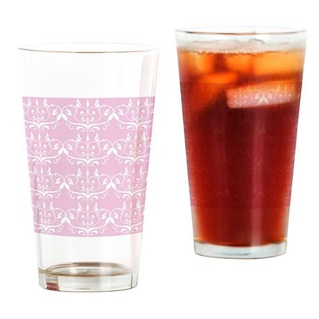 Pink Princess Damask Drinking Glass