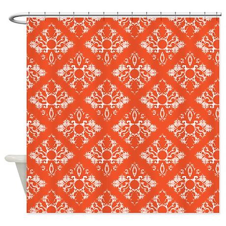 Orange Damask Shower Curtain By PrintedLittleTreasures