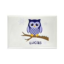 Custom name winter owl blue Rectangle Magnet